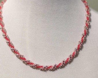 Pink and Silver Beaded Necklace - Spiral Rope
