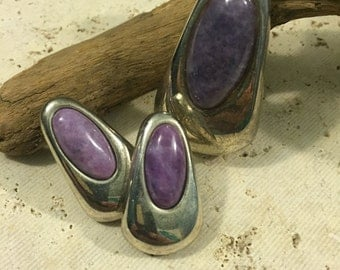Vintage Silvertone with purple stone jewelry set - pendant & earrings