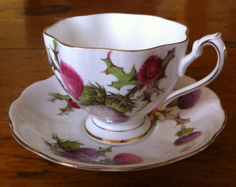 "Queen Ann bone china ""Dundee Thistle"" cup and saucer"