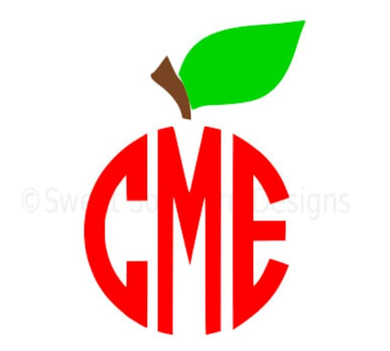 Monogram apple stem SVG instant download design for cricut or