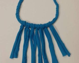 Royal blue braided fringe necklace
