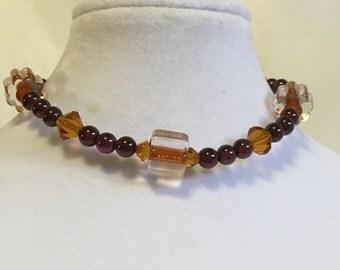 Garnet and Swarovski bracelet