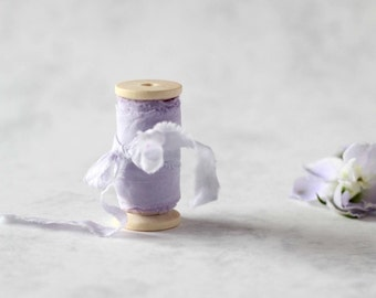 "Hand dyed ribbon on wooden spool, Light lavender, Plant dye, 1.5"", Wedding decoration, Bridal bouquet, Photography props, Purple silk ribbon"