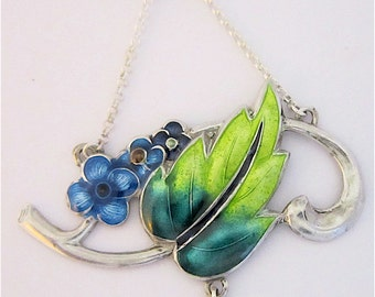 Stunning Art Nouveau Style Sterling Silver and Enamel Pendant.