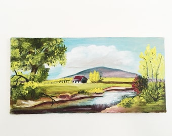 Small Farm and Stream Art // Acrylic Painting on Canvas // Small Mountain Painting