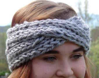 Grey Knit Twist Headband/Ear Warmer