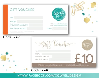 PERSONALISED GIFT VOUCHERS, customised branding, present, offers, discounts, craft fair, small business, stationery x 50 of