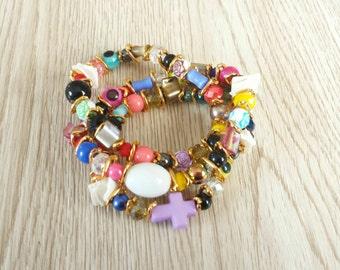 Handmade Multi Color Bracelet. Multi Beads Stone Bracelet. Three Strand Stretch Bracelet. Multi Color,  Colorful Jewelry