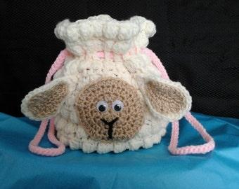 Little Girl   Crochet Lamb Handbag  Lg.