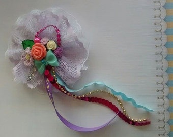Vintage inspired lace and flower bow