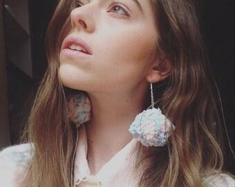 Pastel Fuzzy Wool Pom Pom Earrings // MADE TO ORDER