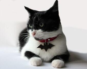 Leather suede cat collar BAT, safety elastic, safe cat collar, halloween cat collar, fansy cat collar, luxury cat collar, brakeaway collars