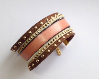 Bracelet leather cuff old rose/Brown