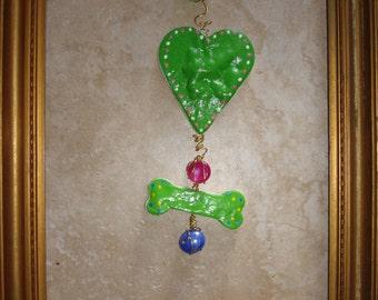 Heart and Dog Bone Dough Ornament