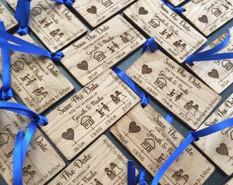 Save the dates wedding invitations rustic wood