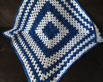 Baby blanket - Handmade crochet baby blanket in white, blue and green shades 30x30 ins