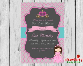 Disney Princess Invitation, Princess Invitation, Princess Birthday party, Birthday Princess Invitation, Party Printables