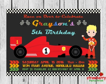 Racing Car Birthday Invitation, F1 Race Car, Formula 1 Boy Birthday Party Invite, Go Kart, Vintage Car, Digital Invitation