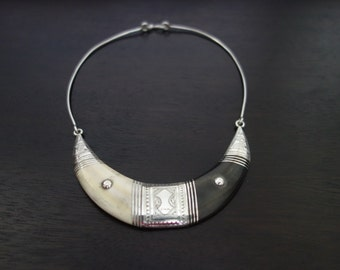 Necklace solid combination silver, ebony and ivory