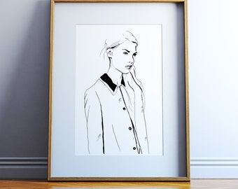 Fashion Illustration Print, Giclee Print, Fashion Sketch, Fashion Wall Art, Watercolour painting print, Fashion Illustration.
