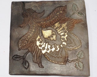 Ceramic Tile Coaster Hand Made Decorative Coffee Table Protector Tea Cup Gifts For Her Tableware
