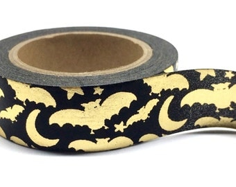 Gold Foil Bats Halloween Washi Tape