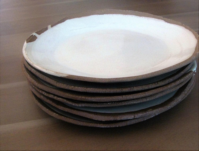 Handmade White Dinner Plates Rustic Stoneware By Mudform
