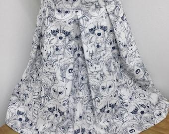 Woodland creatures pleated mini skirt AUS/UK 8