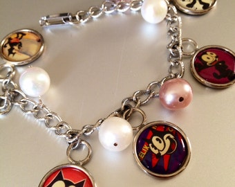 Felix the Cat Charm and Pearl Bracelet
