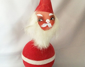 1930s Antique SANTA Candy CONTAINER Germany, Vintage German Paper Maché Bobble Head Santa Claus Christmas Candy Container, Santa Nodder RARE