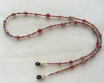 Amber Chocolate Gold Cranberry Pattern Eyeglass Holder Necklace