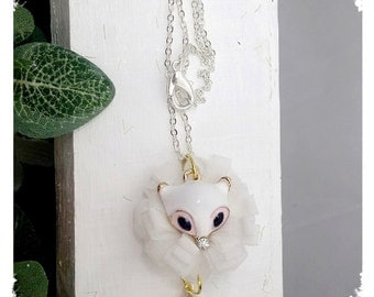 creamy white fox. necklace