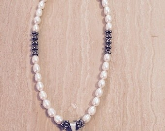 Freshwater Pearl Necklace with Bali Sterling Silver Sea Shell Pendant, Toggle and Beads