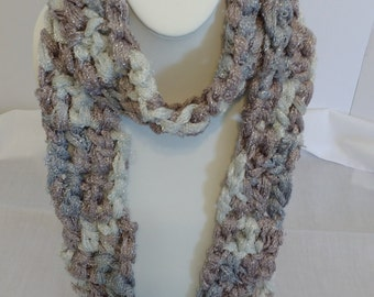 White, Gray and Mauve Boutique Yarn Fashion Scarf