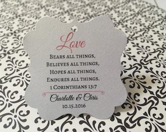 20 wedding favor tags, Corinthians, love is patient