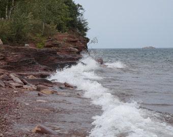 waves on beach, marquette, MI.