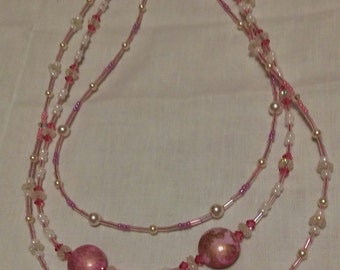 Triple Strand Pink Beaded Necklace
