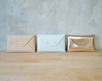 Bridesmaids leather clutches / Envelope clutch / Leather bag / Genuine leather / Bridal clutch / Bridesmaid gift