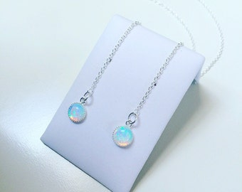 Sterling silver and fire opal threader earrings, gemstone pull through earrings, drop / dangle earrings, october birthstone jewellery