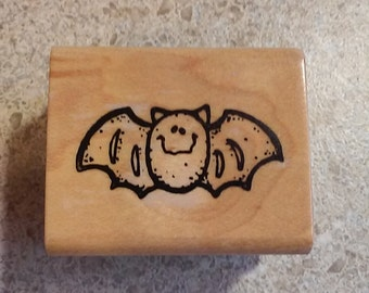 USED Bat Wood Mounted Rubber Stamp - Atlas Smith & Rowe - Greeting Cards, Crafts, Stamping (BIN 3B)