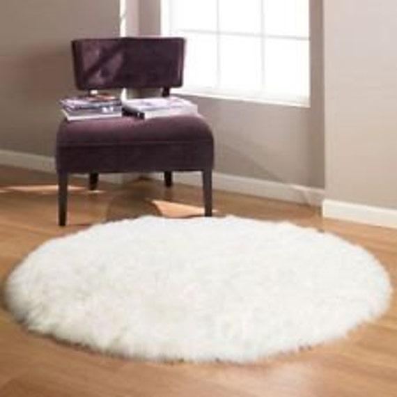 Round Circle Luxury Shaggy Faux Fur Sheepskin Rug By UrbanLA