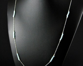 Natural Aquamarine and sterling silver necklace
