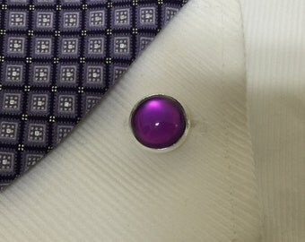 Close out Sale -  25% off - Cufflink - Silver, Purple Color