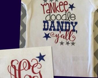 Yankee Doodle Dandy Onsie with Monogram