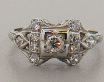 Vintage 1920's 14kt White Gold and 0.30tw Diamond Ring