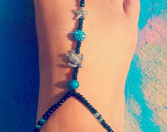 Teal and beachy shimmer barefoot sandals