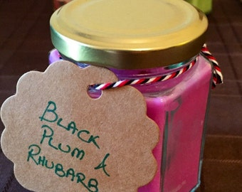 Black Plum and Rhubarb Soy Wax Candle. Free delivery!