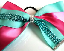 Teal and Fushia bling custom cheer bow