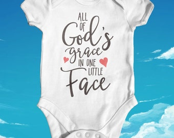 All Of Gods Grace in One Little Face Baby Bodysuit | Baby Shower Gift | Cute Baby Clothes | Slogan Baby Bodysuit | Newborn Baby