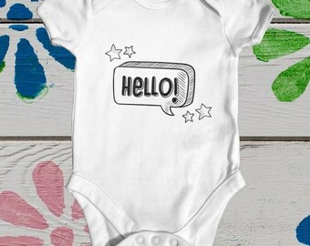 Hello baby bodysuit | cute baby clothes | baby shower gift | funny baby bodysuit | newborn baby clothes | slogan baby bodysuit | new arrival